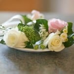 pink and white roses wedding arrangement